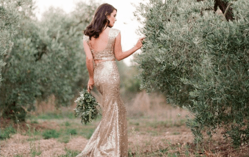 The Golden Wedding Gown Amidst The Olive Groves