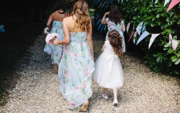 Chic Garden Wedding: Floral Bridesmaids Dresses & A Vintage Bus