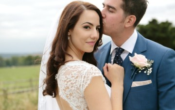 Romantic Grey & Pink Wedding Filled With Polka Dots & Pom Poms