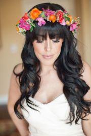 brides with bangs; wedding hair