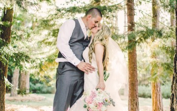 A Pink and White Wedding for Childhood Sweethearts