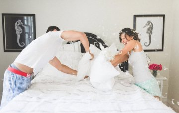 Adorable Pillow Fight Engagement Shoot (You're Going to Want to Steal this Idea!)