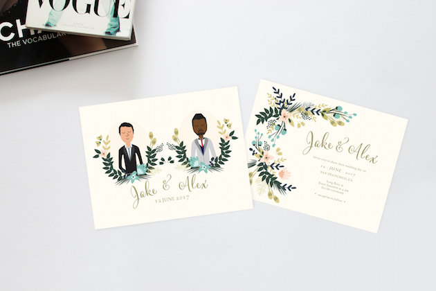 Personalised Wedding Stationery: Personalised Portrait & Paper Goods; Illustrated Wedding