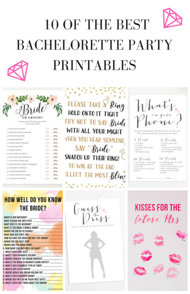 free printables for a bridal shower bachelorette party