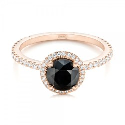 Custom Rose Gold and Black and White Diamond Engagement Ring by Joseph Jewelry