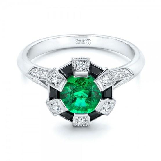 Custom Emerald, Black and White Diamond Engagement Ring