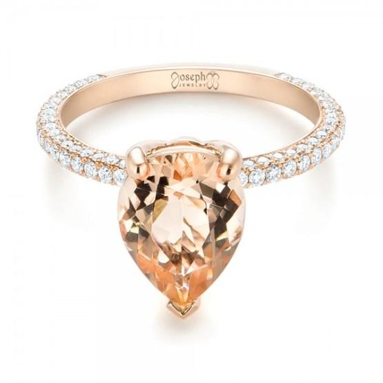Custom Morganite and Diamond Engagement Ring