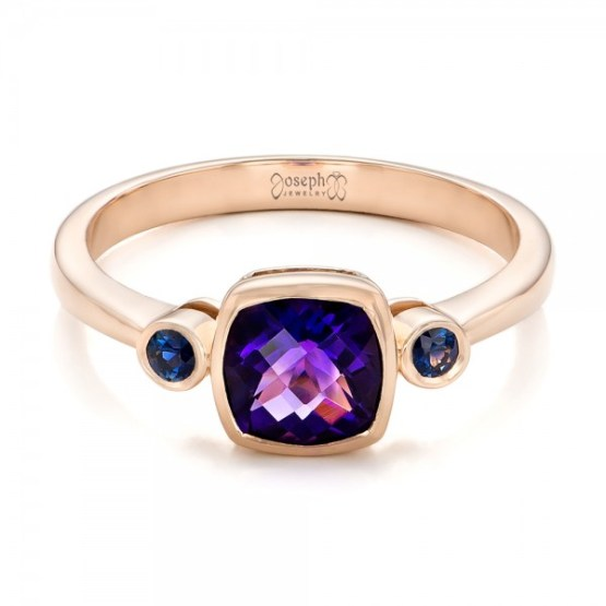 Custom Three Stone Amethyst and Sapphire Engagement Ring