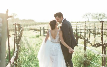 Romantic Gold, Grey and Berry Winery Wedding Inspiration