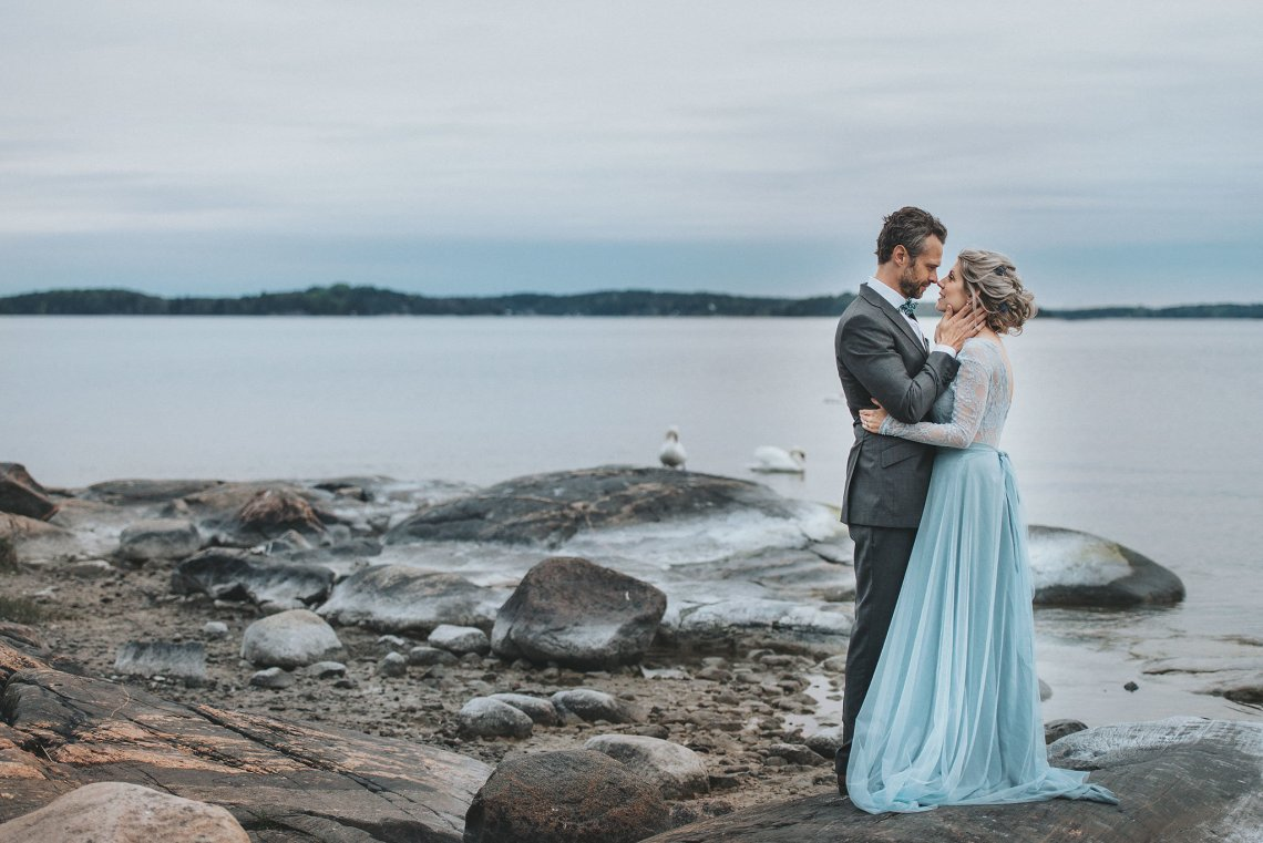 Stormy Scandinavian Wedding Inspiration Featuring a Dramatic Blue Gown | Snowflake Photo 10