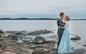 Stormy Scandinavian Wedding Inspiration Featuring a Dramatic Blue Gown