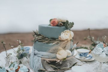 Stormy Scandinavian Wedding Inspiration Featuring a Dramatic Blue Gown | Snowflake Photo 17