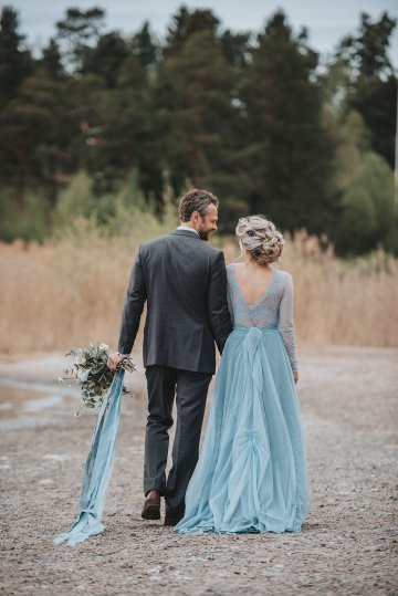 Stormy Scandinavian Wedding Inspiration Featuring a Dramatic Blue Gown | Snowflake Photo 22