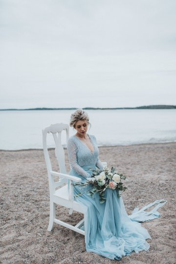 Stormy Scandinavian Wedding Inspiration Featuring a Dramatic Blue Gown | Snowflake Photo 47