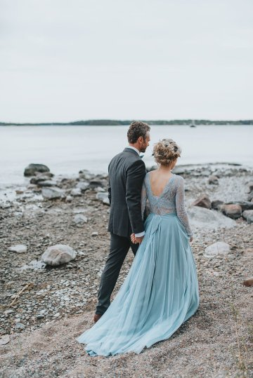Stormy Scandinavian Wedding Inspiration Featuring a Dramatic Blue Gown | Snowflake Photo 48
