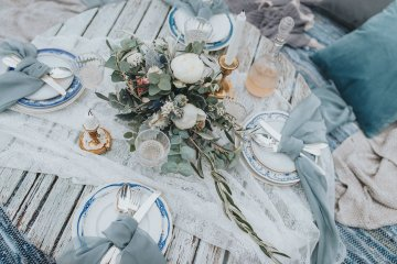 Stormy Scandinavian Wedding Inspiration Featuring a Dramatic Blue Gown | Snowflake Photo 50
