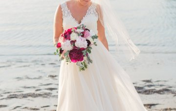 Beachside Wedding with Red & Green Florals