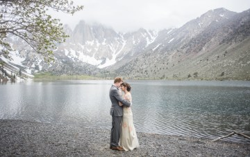 Snowy Mountain Wedding With A Pink & White Vintage Inspired Gown