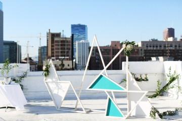 Colorful Rooftop Wedding With Geometric Modern Designs | Christian + Reinna Cruz 19
