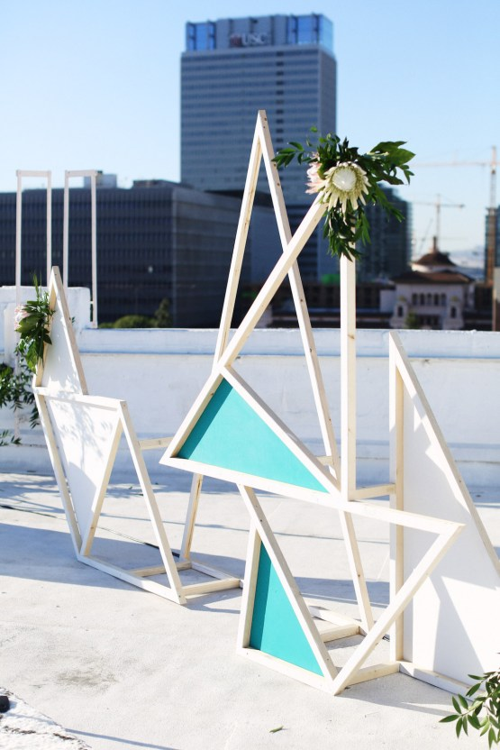 Colorful Rooftop Wedding With Geometric Modern Designs   Christian + Reinna Cruz 49