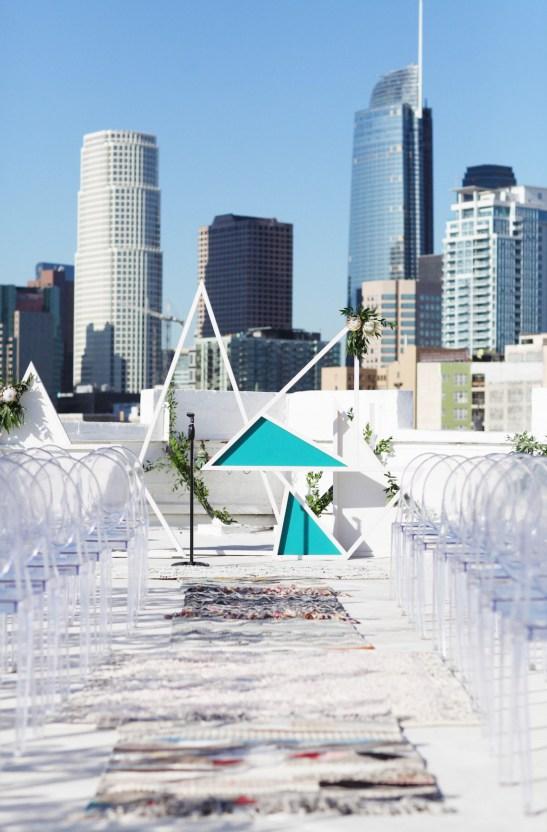 Colorful Rooftop Wedding With Geometric Modern Designs   Christian + Reinna Cruz 50