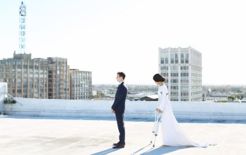 Colorful Rooftop Wedding With Modern Geometric Designs
