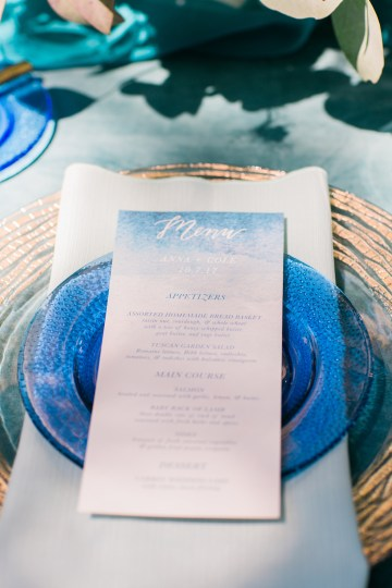 Vibrant Ocean Blue Watercolor Wedding Inspiration | Lola Event Productions | Artistrie Co. 12