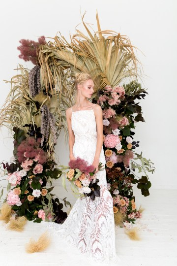 Modern Silk Gowns & Floral Wall Inspiration For The Hip Bride | Anastasia Fua elliftheartist 42