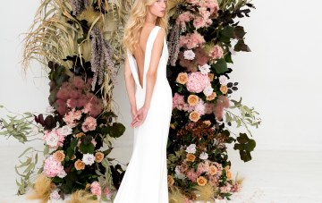 Relaxed Silk Gowns & Floral Wall Inspiration For The Hip Bride