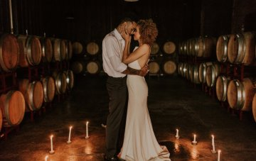 Industrial Cool Meets Winery Warmth; Candlelit Wedding Ideas
