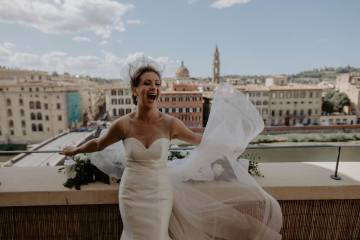 Elopement Wedding Ceremony on hotel balcony in Florence Italy