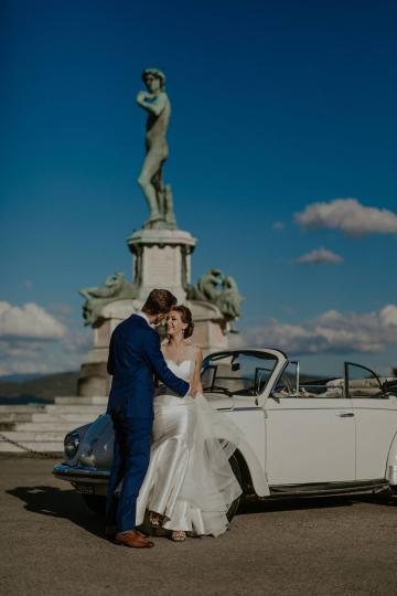 Piazzale Michelangelo Wedding Photos VW Beetle Italy
