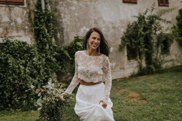 Monstera Leaves & Artichokes; A Hip Slovenian Wedding   Karen Willis Holmes Bridal   Aljosa Videtic 12