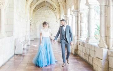 Romantic Old-World Charm Meets A Modern Blue Wedding Dress