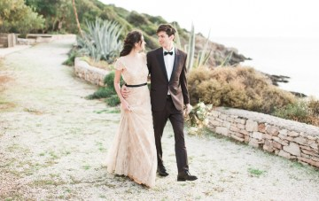 Earthy Nude & Gold Wedding Inspiration (With A Colored Wedding Dress)