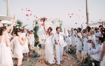 Relaxed All-White Beach Wedding & A Seriously Glamorous Bride