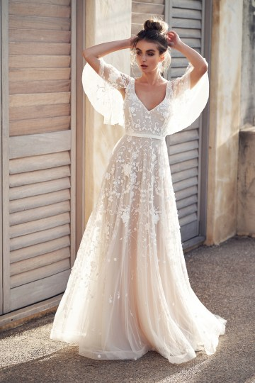 The Romantic & Sparkling Anna Campbell Wanderlust Wedding Dress Collection | Amelie Dress (Draped Sleeve)-1