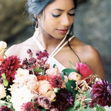 Artistic Burgundy & Fig Beach Wedding Inspiration | Rosencrown Photography 19