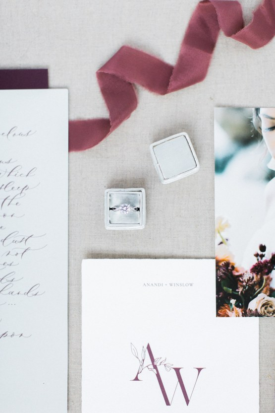 Artistic Burgundy & Fig Beach Wedding Inspiration | Rosencrown Photography 45