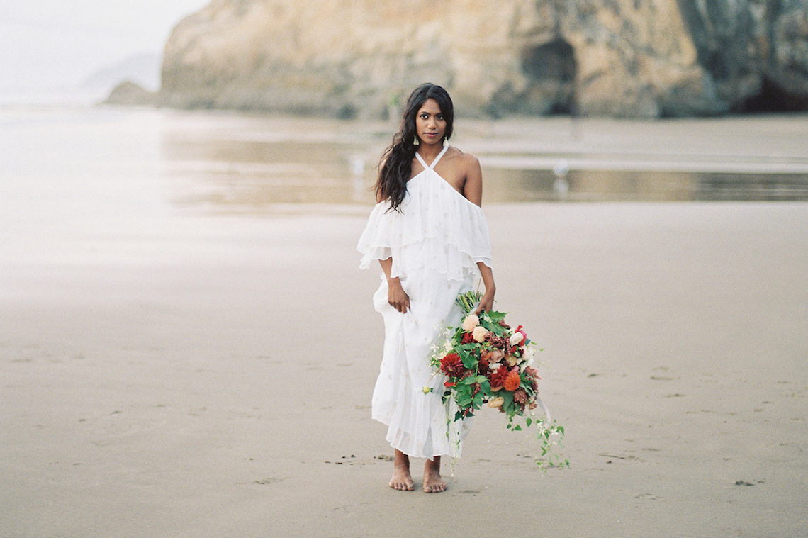 Artistic Burgundy & Fig Beach Wedding Inspiration | Rosencrown Photography 49