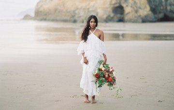 Artistic Burgundy & Fig Beach Wedding Inspiration