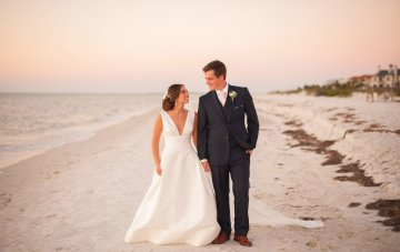 Pretty Pink Beach Wedding With An Elegant, Formal Reception