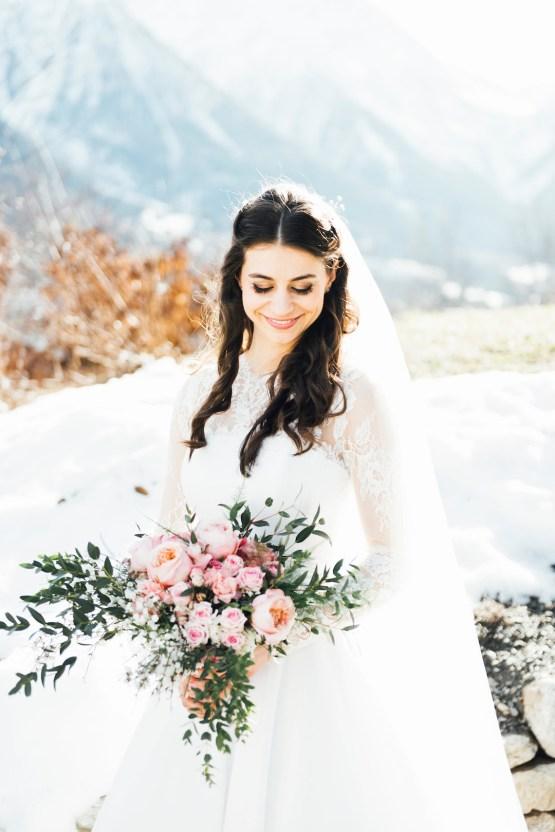 Charming Chamonix Winter Wedding With A Fur Coat – Katie Mitchell 13