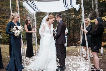 Warm Fall Catskills Wedding With Ceremony Sparklers – Christina Lilly Photography – Buds of Brooklyn 11