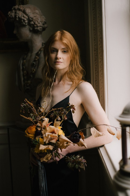 Dramatic Bridesmaid Inspiration With Fall Florals and A Black Jumpsuit – Georgina Harrison Photography 12