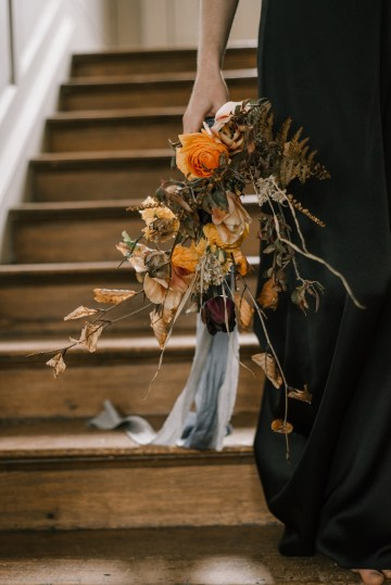 Dramatic Bridesmaid Inspiration With Fall Florals and A Black Jumpsuit – Georgina Harrison Photography 15