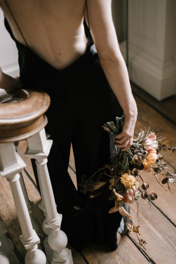 Dramatic Bridesmaid Inspiration With Fall Florals and A Black Jumpsuit – Georgina Harrison Photography 9