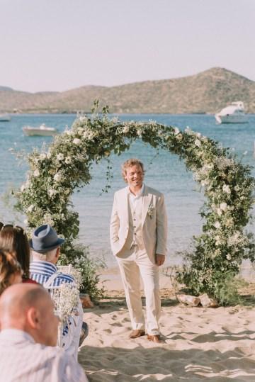 Boho Greek Island Wedding Featuring A Circle Floral Arch – Paulina Weddings 9