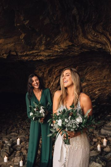 Romantic Same Sex Beach Elopement Inspiration in Earth Tones – Kalon Weddings Photography – Chloe Nicole Weddings 35