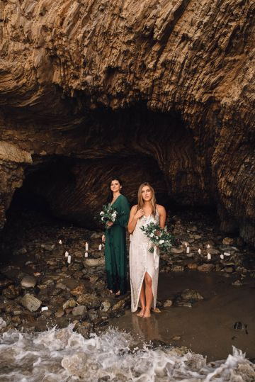 Romantic Same Sex Beach Elopement Inspiration in Earth Tones – Kalon Weddings Photography – Chloe Nicole Weddings 36